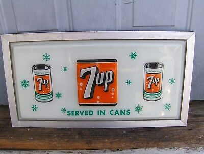 Vintage 7-UP Soda Machine Sign Retro Cans 1960's Embossed
