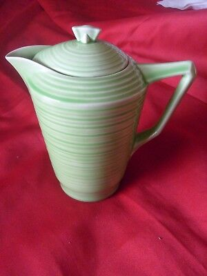 Art Deco Crown Ducal Green Pottery Coffee Pot & Lid
