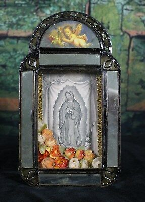 Old Fashion Style Mexican Reliquary Niche Nicho Our Lady of Guadalupe, Folk Art