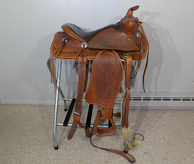 "Simco 15"" roping saddle full Basket Weave hand tooled leather western horse"