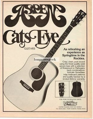1978 Aspen Cats Eye Acoustic Guitar Magazine Ad