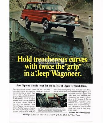 1967 Jeep Red Wagoneer Automobile Car Country Road Vtg Print Ad