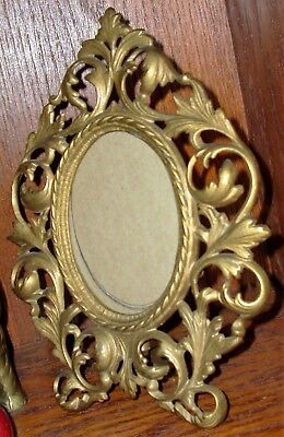 Antique - Oval Picture Frame Solid Brass Ornate Filigree Surround