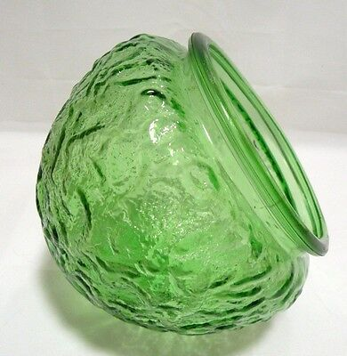 EO Brody Green Vase Planter Dimpled Textured Crinkle Glass