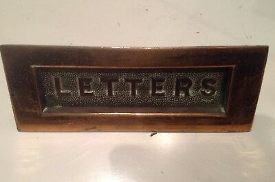 "Vintage Small  Cast Brass Letter Box ""Embossed Letters on the Flap"""