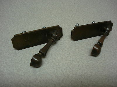 lot of 2 vintage brass drawer pull's knob's handle's  ** nice **