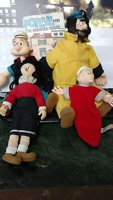Popeye, Olive, Brutus and Sweet Pea Dolls Circa 1985 with book!