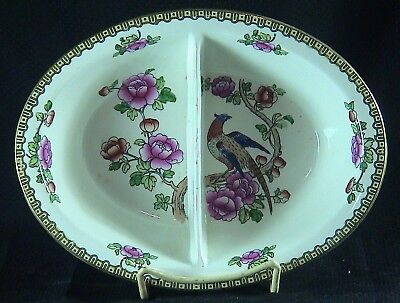 "F WINKLE & Co. PHEASANT WHIELDON WARE 10"" OVAL DIVIDED VEGETABLE SERVING BOWL"