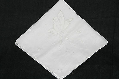 Fabulous vintage white lawn handkerchief, with embroidered butterfly and leaves