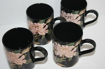 "FITZ & FLOYD Black Cloisonne Peony 3.75"" Mugs Coffee Cups Set of 4 Japan"