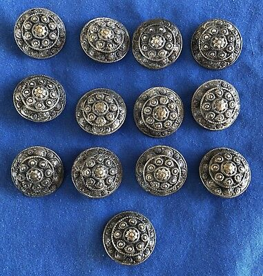 21 Vintage Or Antique Nickel Plated Brass Metal Buttons 7/8""