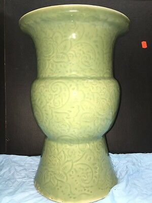19th Century Chinese Antique Carved  Celadon Vase