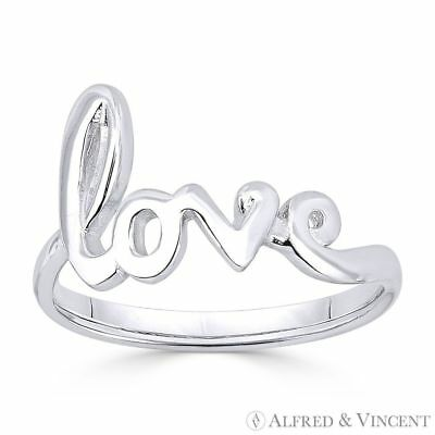 """Love"" Word Cursive Script .925 Sterling Silver Right-Hand Fashion Promise Ring"