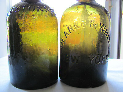 Two Quart Mineral Water Bottles Gw Weston And Clarke & White One Is Pontiled