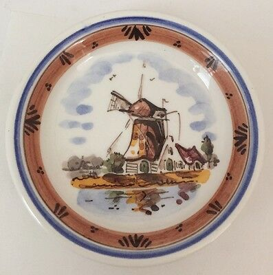 Vintage D.P. Delft Pottery Holland Small Decorative Plate in browns and blues