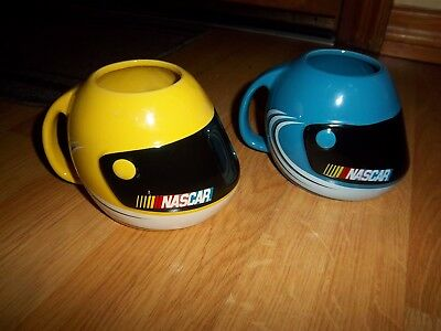 Nascar Helmet Shaped Yellow & Blue  Mugs