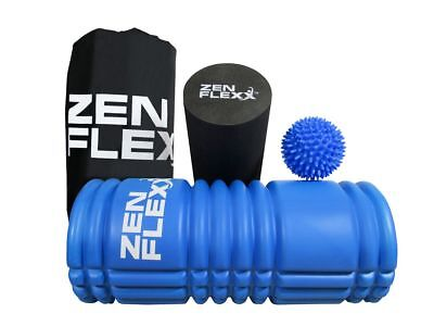Zen Flexx 2 in 1 Foam Roller & Massage Set Trigger Point Gym Sports Muscles Yoga