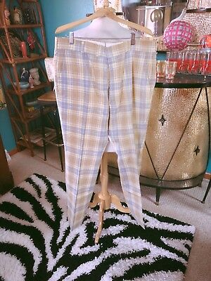 Vintage 1960s Pants men's beige plaid 38 waist Rockabilly Mod golf 60s 1970s 70s
