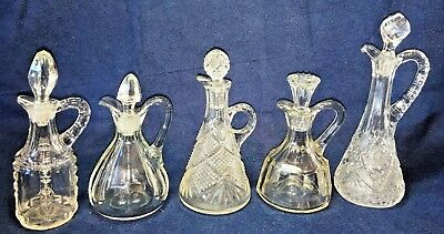 Vintage Lot Crystal Clear Pressed Glass Cruets w/ Stoppers Oil Vinegar Perfume