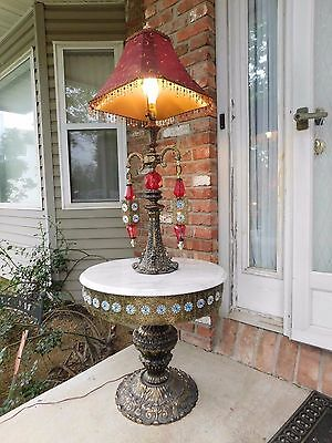 Vintage Antique 20's 30's Brass Marble Red Glass Side Table Lamp Light Gothic