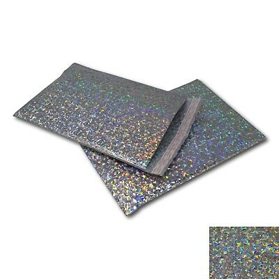EPOSGEAR 10 Pack Silver Holographic Metallic Gloss Foil Padded Bubble Mailing Gi