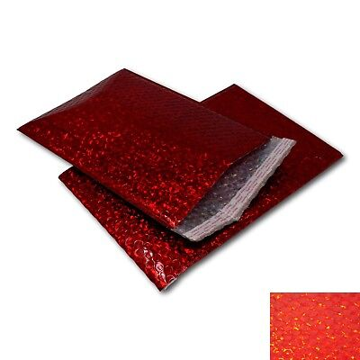 EPOSGEAR 10 Pack Red Holographic Metallic Gloss Foil Padded Bubble Mailing Gift