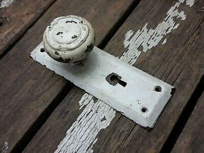 VTG Antique Old SHABBY Fancy Rusty Door Knob & Metal Backplate Cover Hardware
