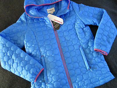 Lands End Primaloft Hooded Quilted Lightweight Jacket Blue Girls Large 14 Nwt