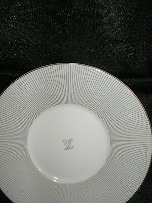 """Louis Vuitton White China Radiating Silver Lines Saucer Plate 6"""" Diameter USED"""
