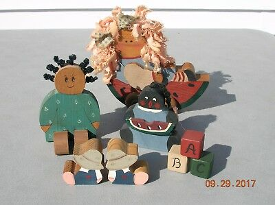 Wood primitives miniature people, ABC blocks, doll in cart, very nice  lot of 6