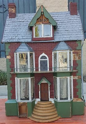 1869 Antique Dollhouse German or American Tin Roof & Gutters 36 X 25 Inch