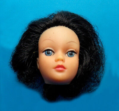 """1970s FASHION DOLLIKIN  fits 11"""" barbie doll -- HEAD with Curly Brown Hair"""