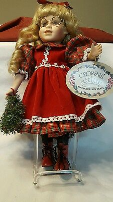 """1998 Crowne Fine Porcelain Dolls Certificate of Authenticity Merry Doll 14"""""""
