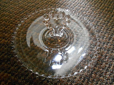 "Old Vintage Candlewick Heart Shaped Handled Tray Platter Plate Clear 8 1/4"" Bead"