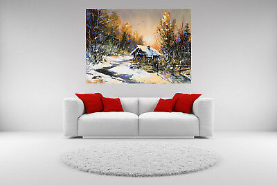 Winter Cabin Landscape Canvas Giclee Print Picture Unframed Home Decor Art