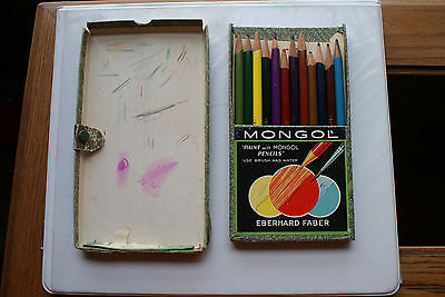 Old Vintage Monogol Colored Indelible Thin Lead Paint w/ Pencils Eberhard Faber