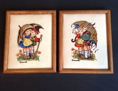 "Hummel Crewel Embroidery ""Stormy Weather"" Framed Set"