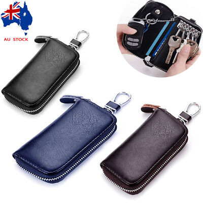 Unisex Leather Key Holder Case Keychains Pouch Bag Car Wallet Key Ring AU Stock