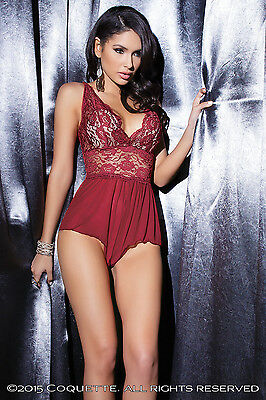 Sexy Merlot Red Teddy Body Lingerie CQ7041 Plus Size One size Crotchless Lace