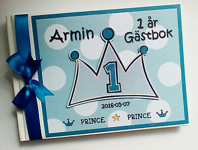 Personalised Prince/boys /first/1St Birthday Guest Book Any Design