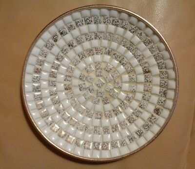 Mini Tile round dish Vintage white and gold  50-60's