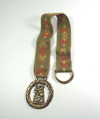 Vintage Brass Lion Wreath Door Hangar Embroidered Retro Embroidered Strap