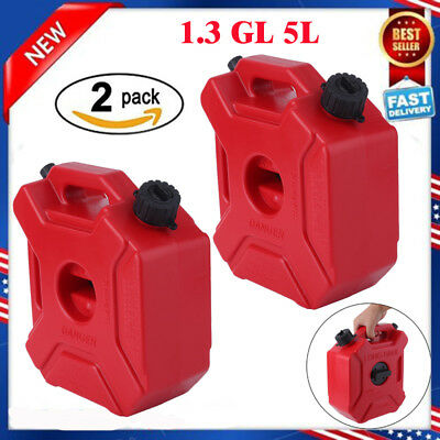 2X Gas Storage 1.3 Gallon Containers Fuel Pack Can w/ Mounting Kits ATV UTV EK