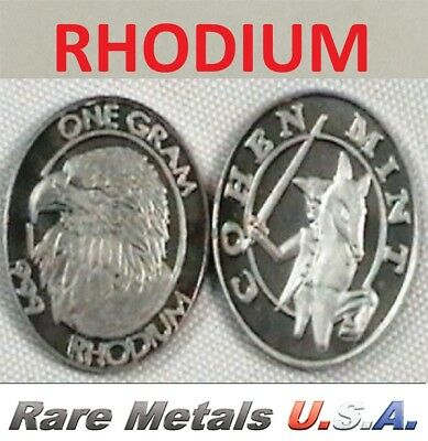 1 GRAM RHODIUM COIN: COHEN MINT | PURE 99.9%+ Rh .999: BULLION! RARE METALS USA!