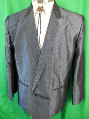 Vintage 80s Tres Bon Shimmery Blue Grey Poly Viscose Double Breasted Jacket S/M