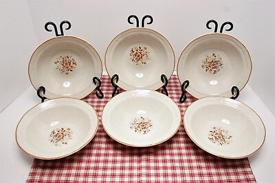 """LOT of 6 Brick Oven Antique Array Meadow Flowers 7 1/8"""" Cereal Bowls MINT!"""