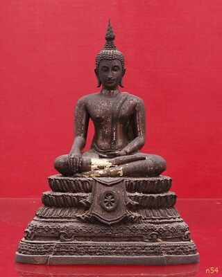Genuine Antique 1980AD Pra Bucha Man Wi Chai Worship Thai Buddha Statue