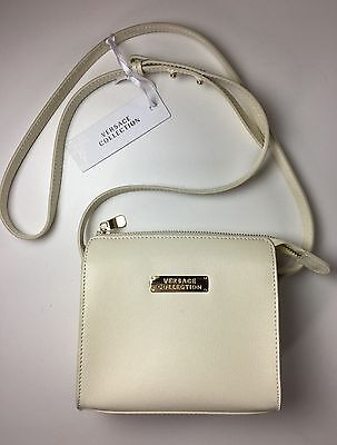 9d0214517100 Authentic Versace Collection Saffiano Leather Small Crossbody Bag Chalk  Ivory