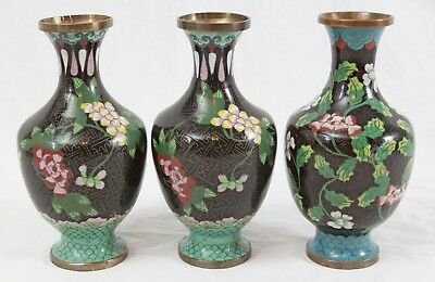 """Antique Chinese Cloisonne 6.5"""" Vase Lot (3) Matching Floral Pair Marked CHINA"""
