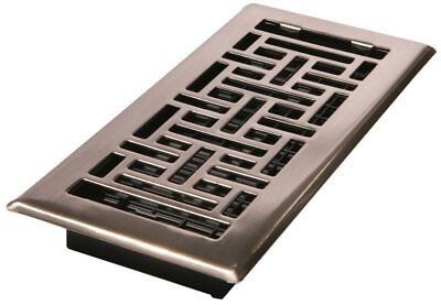 Decor Grates AJH410-NKL 4-Inch by 10-Inch Oriental Floor Register, Brushed